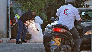 Explosion einer Tränengasgranate