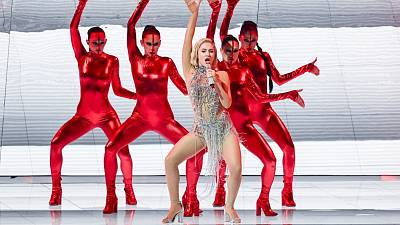 Cyprus' Elena Tsagrinou performs during the dress rehearsal ahead of the 2021 Eurovision Song Contest