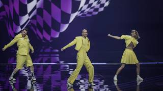 Musical group The Roop from Lithuania perform during rehearsals at the Eurovision Song Contest at Ahoy arena in Rotterdam, Netherlands, Monday, May 17, 2021.