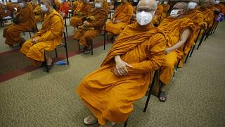 Buddhist monks wait to receive Sinovac COVID-19 vaccines at Priest hospital in Bangkok, Thailand Tuesday, May 18 , 2021.