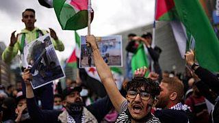 صورة أرشيفية لمظاهرات داعمة للفلسطينيين في بروكسل