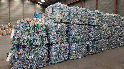Piled up and crushed plastics, single use plastics are traditionally harder to recycle
