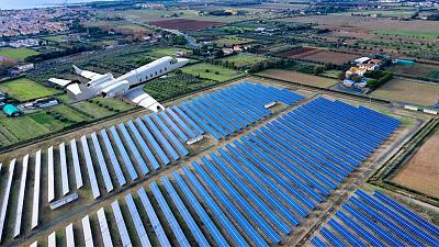 Airplane flying over a solar farm
