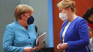 Angela Merkel mit Franziska Giffey in Berlin