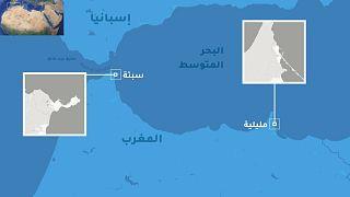 موقع سبتة ومليلية في شمال القارة الإفريقية