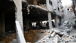 Schäden nach Bombadierungen im Gazastreifen