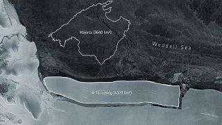 Satellite image of the new iceberg