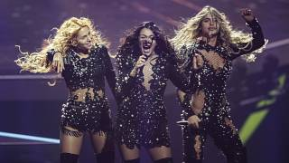 Hurricane from Serbia perform during rehearsals at the Eurovision Song Contest at Ahoy arena in Rotterdam, Netherlands, Wednesday, May 19, 2021.