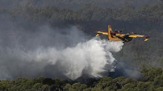 A firefighting airplane drops water near the village of Alepochori, Greece, Friday, May 21, 2021.