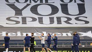 Tottenham Hotspur players at the end of their English Premier League match against Aston Villa at the Tottenham Hotspur Stadium in London, May 19, 2021.