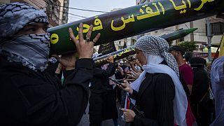 عناصر من سرايا القدس خلال تجمع نظمته جماعة حزب الله - 17  آذار / مايو 2021