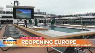 Pool at MSC Virtuosa cruise ship which is sailing from Southampton for a four-day cruise in the English Channel.