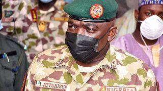 Nigeria's Chief of Army Staff Major General Ibrahim Attahiru at the theatre command operations Lafiya Dole headquarters in Maiduguri, Nigeria on January 31, 2021.