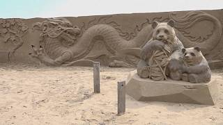 Homages to world cultures created in sand