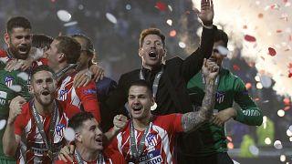 من احتفال أتلتيكو مدريد بعد الفوز بنهائي الدوري الأوروبي في 2018