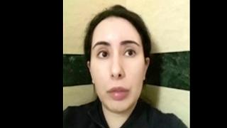 Image from a video in an unknown location shows Sheikha Latifa bint Mohammed Al Maktoum, who says she is being held against her will in February 2021.