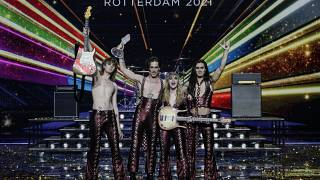 Maneskin from Italy celebrate with the trophy after winning the Grand Final of the Eurovision Song Contest at Ahoy arena in Rotterdam, Netherlands, Saturday, May 22, 2021.