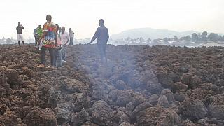 Residents of the Buhene area said many homes had caught fire as lava oozed into their neighborhood. (AP Photo/Justin Kabumba)