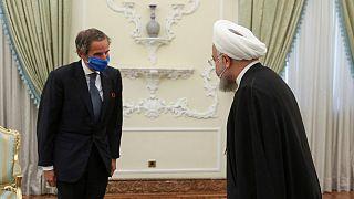 دیدار مدیر کل آژانس انرژی اتمی با حسن روحانی در سفر گروسی به تهران