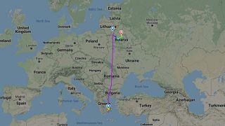 Image taken from Flightradar24 showing route of #FR4978