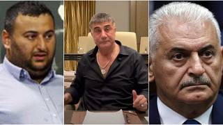 En solda Binali Yıldırım'ın oğlu Erkan Yıldırım, ortada Sedat Peker, en sağda Binali Yıldırım