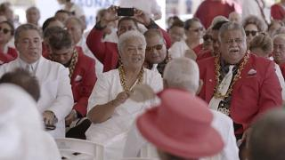 Prime Minister-elect Fiame Naomi Mata'afa with her supporters Monday, May 24, 2021, in Apia, Samoa.