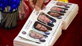 بطاقة اقتراع تحمل صور انتخابات مرشحي الانتخابات الرئاسية السورية، محمود مرعي والرئيس بشار الأسد وعبدالله سلوم عبد الله.
