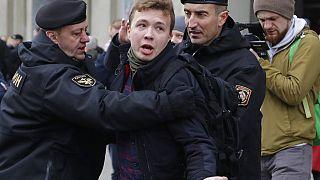 Belarus police detain journalist Roman Protasevich in Minsk, Belarus, Sunday, March 26, 2017