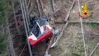 Italian firefighters at scene of crashed cable car