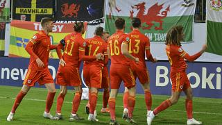 Wales' players celebrate after scoring the opening goal during their UEFA Euro 2020 qualifying match against Azerbaijan.