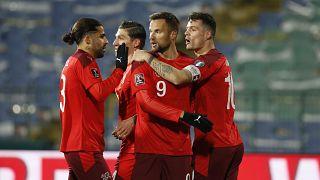 Switzerland celebrates Haris Seferovic's goal during their 2022 FIFA World Cup qualifying match against Bulgaria.