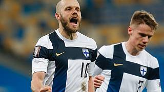 Finland's Teemu Pukki celebrates after scoring a penalty during the 2022 FIFA World Cup qualifying match against Ukraine.