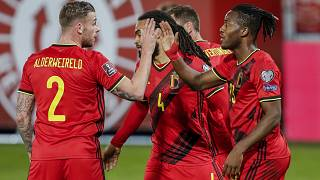 Belgium's players celebrate after scoring during a 2022 FIFA World Cup qualifying match against Belarus.