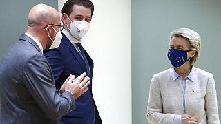 Charles Michel, Sebastian Kurz, y Ursula von der Leyen