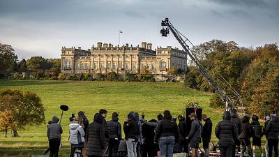 Cast and crew of Downton Abbey filming on location at Harewood House in Surrey, UK