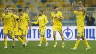 Ukraine's Junior Moraes celebrates after scoring his team's first goal during their 2022 FIFA World Cup qualifying match against Finland.