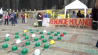 Protesta contra el ministro de defensa de Colombia Diego Molano