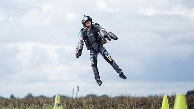 A pilot tests Gravity Industry's engine-powered jetsuit.