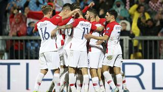 Croatia players celebrate during their UEFA Euro 2020 qualifying match against Slovakia in November 2019.