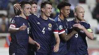 Scotland's players celebrate during their UEFA Euro 2020 qualifying match against Cyprus in November 2019.