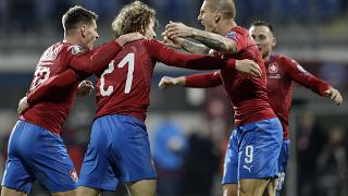 Czech Republic's players celebrate during the UEFA Euro 2020 qualifying match against Kosovo in November 2019.