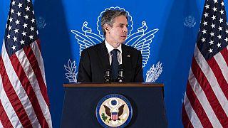 Antony Blinken, em conferência de imprensa após um dia em Jerusalém e Ramallah
