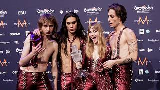 Members of the band Maneskin from Italy