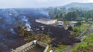 Dégâts causés par les coulées de la lave jaillie du volcan Nyiragongo près de Goma (RDC), le 24/05/2020