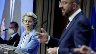 Ursula von der Leyen et Charles Michel à Bruxelles, le 25 mai 2021