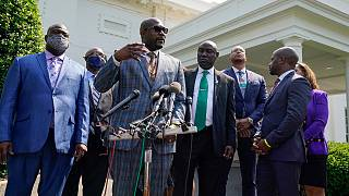 Philonise Floyd, the brother of George Floyd, talks with reporters with other family members after meeting with President Joe Biden at the White House, Tuesday, May 25, 2021.