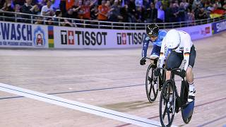 Germany's Emma Hinze (R) wins ahead of Hong Kong's Wai Sze Lee during the Women's speed semifinal during the Cycling World Championship in Berlin, Germany, Feb 28, 2020.