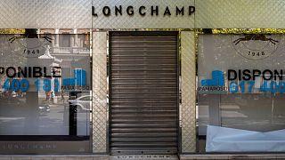 فروشگاهی تعطیل شده در مادرید، پایتخت اسپانیا