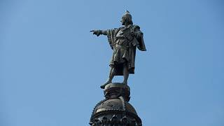A picture taken on September 27, 2016, shows the Christopher Colombus monument in Barcelona