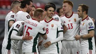 Hungary players celebrates during the 2022 FIFA World Cup qualifying match against Poland.